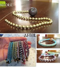 DIY wrap bracelets...great site for tons of other DIY items - shoes glam, jewelry, ect
