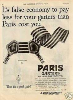 1920s striped elastic sock garters