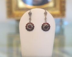 Lovely pair of Garnet, Marcasite and silver earrings, 1st half of 20th century