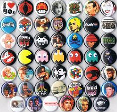huge lot 1980s themed party favor pins buttons badges retro wholesale bulk