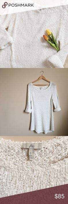 Joie Open Knit Sweater Dress Joie brand white open knit sweater dress with sewn in rolled up sleeves. Only worn once! Versatile piece that can be dressed up or down. :) Size small. EUC, no flaws. Joie Dresses Long Sleeve