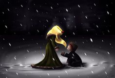 """Herobrine: """"Why are you helping me?"""" Princess: """"Because you need it."""" Sooo I decided to play around with snow effects. Time it took: 1 hour 50 mins. Listening to: Silent Hill's """"Promise..."""
