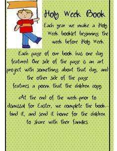 Holy Week Book - activities  http://www.teacherspayteachers.com/Product/EasterHoly-Week-A-complete-week-of-activities