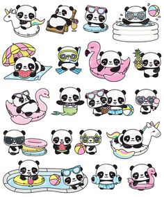 Premium Vector Clipart Kawaii Panda Cute Panda Pool Party 736 x 886 365 Kawaii, Panda Kawaii, Cute Panda Cartoon, Kawaii Art, Niedlicher Panda, Kawaii Room, Kawaii Stuff, Kawaii Anime, Cute Panda Drawing