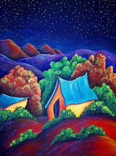 Framed Southwest New Mexico Original Landscape Painting EBSQ     christine-wasankari - Painting on ArtFire