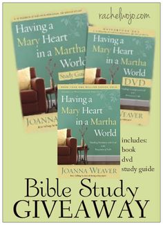 Having a Mary Heart in a Martha World GIVEAWAY! Includes the book, DVD for group or personal study, AND the study guide. 2 sets up for giveaway!
