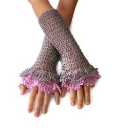 Fingerless Gloves  Taupe Pink Elegant Shabby Chic by Iovelycrochet, $29.00