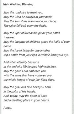 This will be part of my ceremony (: irish wedding blessing