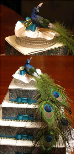 peacock cake. I like the painting on the sides. Maybe with lime base color and teal ribbon?