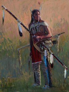 The Shield Bearer by Joseph Trakimas Oil ~ 48 inches x 36 inches  Trakimas has an interest in creating authentically made Native American headdress, weapons, shields and clothing, primarily dating back to the mid 1800's Apsaroke (Crow) Indians.    His hope is to honor their way of life and educate the public through the images he creates, much like George Catlin and Karl Bodmer did. #Native American Art