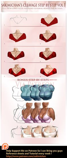 Cleavge step by step tutorial by sakimichan on DeviantArt