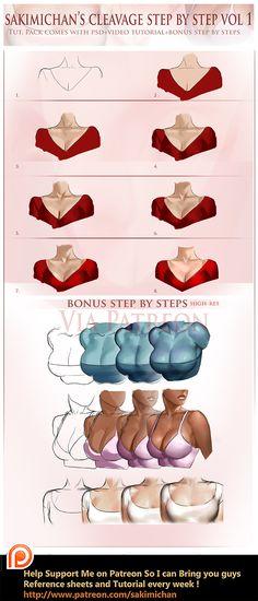 Cleavge step by step tutorial by sakimichan.deviantart.com on @DeviantArt
