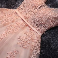 High quality pink lace short prom dress,homecoming dress,bridesmaid dress - Thumbnail 1