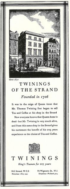 Twinings of the Strand - press advert by Twinings Tea, set by the Curwen Press, 1932