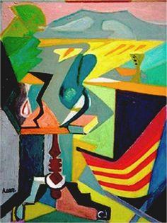 art,lhote,1945-Sur la Terrasse (1945) Huile sur toile (61 x 46)