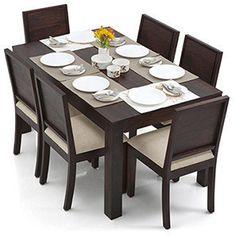 Arabia - Oribi 6 Seater Dining Table Set (Mahogany Finish, Wheat Brown)