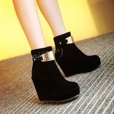 Womens Suede Ladies High Heel Wedge Ankle Boot Platform Roman Winter Shoes