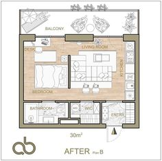 Another one micro apartment. You have to fit all functional needs using every inch of floor plan in the best way. Which one is better for… Micro Apartment, Tiny Apartments, Tiny Spaces, Apartment Design, Apartment Floor Plans, Bedroom Floor Plans, House Floor Plans, The Plan, How To Plan