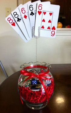 Do-It-Yourself ideas for hosting a casino game night fit. image number 29 of casino party decoration Casino Themed Centerpieces, Casino Party Decorations, Casino Theme Parties, Party Themes, Party Ideas, Game Ideas, Birthday Centerpieces, Casino Royale, Las Vegas