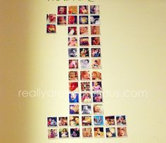 First Birthday Party Decoration with Instagram Pictures in the shape of a ONE.jpg