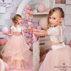$119.00 (Buy here: http://appdeal.ru/dr5f ) Little Girls Party Dresses Ruffle Tulle Crew Neckline Sheer Short Sleeve Lace Two Pieces Ruffle Long Little Flower Girls' Dress for just $119.00