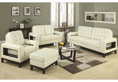 Paige Contemporary Livingroom Set with Cutout Arms and Tufted Cushions