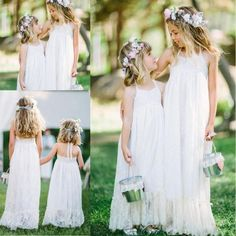 The flower girl wedding which match the flowers-pretty 2016 new lovely white lace boho flower girls dresses halter floor length a line cheap flower girls gowns for beach garden wedding is offered in hellojodie and on DHgate.com formal girls dresses along with fuchsia flower girl dresses are on sale, too.