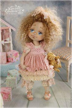 Купить Одуванчик. Кукла авторская текстильная art doll - кремовый, розовый, розы, белый, шебби
