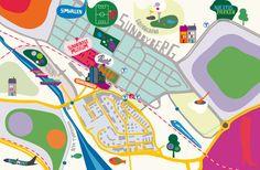 Map of Sundbyberg, Stockholm, c2012, Kari Modén, Illustration for Signalfabriken Magazine, Sweden