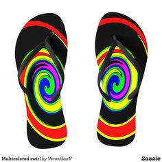 Multicolored swirl adult flip flops, slim straps, photo, photography, artwork, buy, sale, gift ideas, zazzle, shop, name, multicolor, twirl, swirl, bright, red, yellow, green, blue, purple, rainbow, colorful, fun, women, men, fashion, shoes, summer, beach, vacation