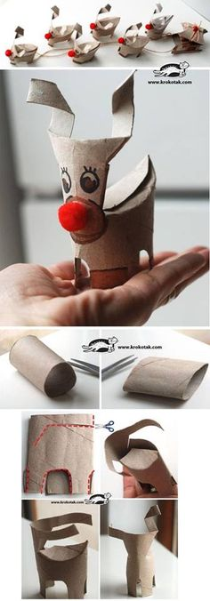 Recycle toilet paper rolls to make christmas crafts... DIY reindeer, so cute