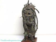 """Vintage 1970s Bronze Surrealist Statue SCULPTURE Impressionist Post-Modern 18"""""""