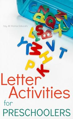Have a set of letter manipulatives? Try these creative and new letter identification activities that require just a set of letters. Check out this post for new letter activities for preschoolers. Five Ways to Use Letter Manipulatives Writing Activities For Preschoolers, Preschool Literacy, Preschool Letters, Preschool Printables, Alphabet Activities, Preschool Ideas, Toddler Activities, Nursery Activities, Kindergarten Learning