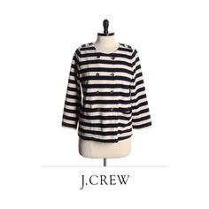 Blue Striped Nautical J. Crew Sweater Blue and cream striped sweater from J.Crew. Gold button detail on front. Size medium. J. Crew Sweaters