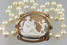 Antique Victorian Cameo and Akoya Pearl Necklace - Venus and Cupid