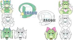 Dragon Mini Artwork Set by SnugglebugArtDesign on Etsy