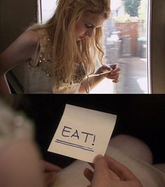 Skins: Cassie. Amazing scene where she is battling anorexia and she finds the post-it on her body.