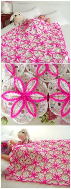Gorgeous crochet pattern for this floral blanket. Pattern is for baby sized blanket, but this could be made in any size. I want to crocht this and have it on MY bed!