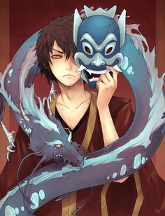 """Blue_Spirit_Zuko"" by UdonNodu on deviantART. Zuko learns a lot about himself behind the Blue Spirit mask."