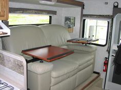 RV Replacement Furniture Dinette Replaced by LazyBoy Recliners and Swiveling Trays