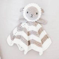 Crochet Little Lamb Lovey - Free Pattern (Beautiful Skills - Crochet Knitting Quilting) Baby Security Blanket, Lovey Blanket, Baby Blanket Crochet, Crochet Shrug Pattern, Crochet Patterns Amigurumi, Crochet Toys, Crocheted Animals, Crochet Gratis, Crochet Bunny