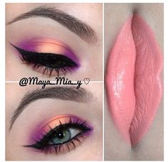 Maya Mia is literally the queen when it comes to make-up. Beautiful Eye Makeup, Love Makeup, Makeup Inspo, Makeup Tips, Hair Makeup, Makeup Quiz, Maya Mia, Make Up Looks, Peach Makeup