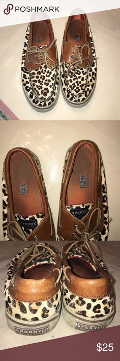 Cheetah print fur Sperry Topsider's I'm very used condition blemishes are displayed in the pictures Sperry Top-Sider Shoes Flats & Loafers