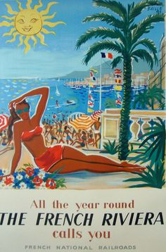 La Cote d' Azur French Riviera France Europe Travel Poster Art Advertisement 1950s Posters, Retro Poster, Poster S, Tourism Poster, Vintage Surf, Vintage Signs, Vintage California, Vintage Advertisements, Vintage Ads