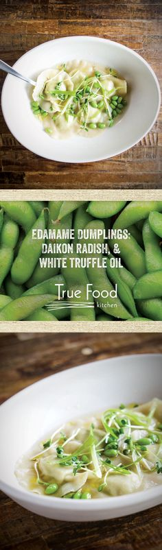 Our vegetarian Edamame Dumplings are served with Daikon Radish and White Truffle Oil.