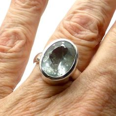 Aquamarine Ring Faceted Oval | 925 Sterling Silver | Size 8 | Crystal Heart Melbourne Australia since 1986
