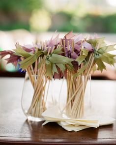 A Finishing Touch - wooden drink stirrers with ribbon flourish - easy - inexpensive - and flirty fun! Plan My Wedding, Diy Wedding, Cocktail Party Decor, Cocktails For Parties, Wedding Reception Decorations, Reception Ideas, Martha Stewart Weddings, Signature Cocktail, Here Comes The Bride