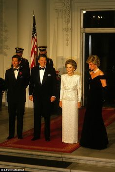 Prince Charles, Prince of Wales, and Diana, Princess of Wales, visit Washington DC.  Gala Dinner at the White House with Ronald Nancy Reagan in 1985. Nancy attended the royal wedding alone in 1981