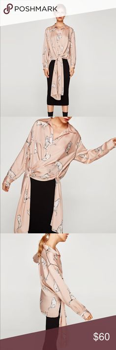 Zara cat printed blouse with belt, S, pale pink Printed blouse with lapel collar, long sleeves, belt and button-up fastening in the front. Zara Tops Blouses