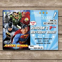 Justice League Printable Digital Invitation All Text Can Be Customized You Superman Invitations